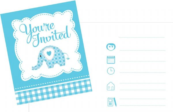 Sweet Baby Elephant Blue Invitations
